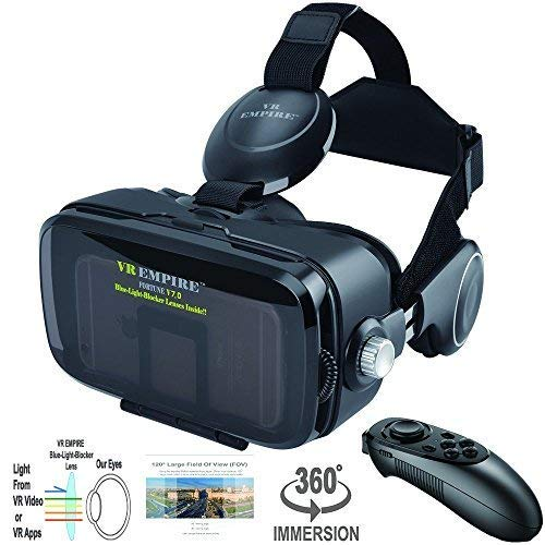 8966549d1402 Amazon.com  VR Headset 3D Glasses with VR Controller Remote 120° FOV ...