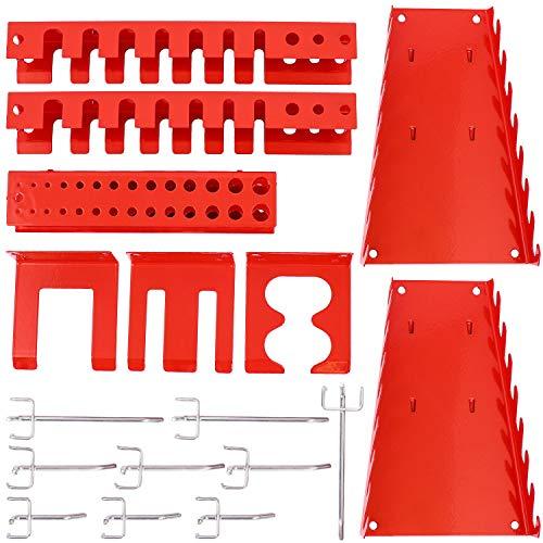 Panorama24 Werkzeugwand Erweiterungsset, bestehend aus 17tlg. Hakenset, rot - Werkzeug-Regal, Lochwand, Werkzeughalter, Lochwandhaken