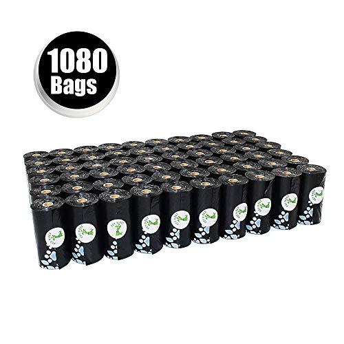 PET N PET EarthFriendly 1080 Counts 60 Rolls Large Unscented Dog Waste Bags Doggie Bags Black Color Black1080 Counts Refills Black Refills