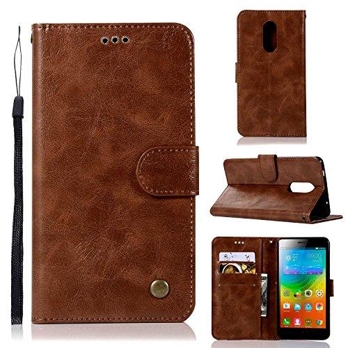 Guran® PU Ledertasche Hülle für Lenovo K6 Note (5.5 Zoll) Smartphone Flip Cover Wallet & Stent- Funktions Retro Mode Muster Etui - Braun