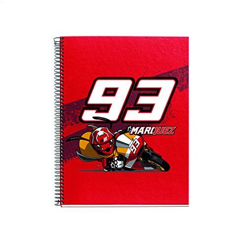 Marc Marquez 2763 - Cuaderno escolar 4º 80 hojas, wheel track