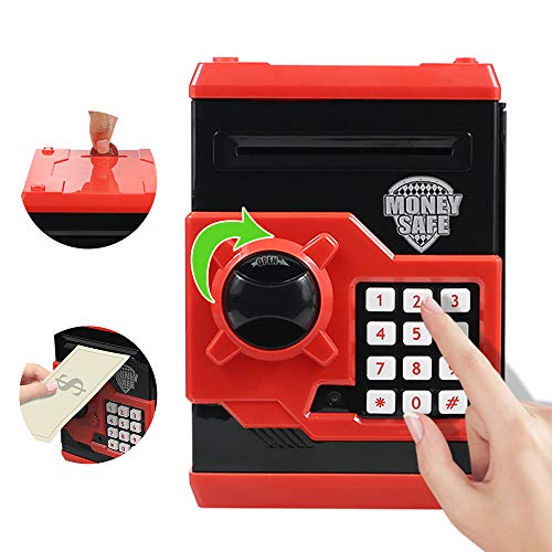 Elemusi Cartoon Electronic Password Mini ATM Piggy Bank Cash Coin Can Auto Scroll Paper Money Saving...