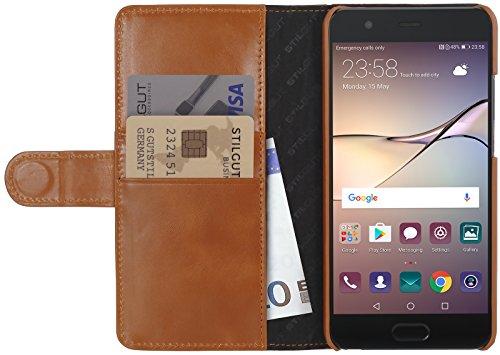 StilGut Talis Schutz-Hülle kompatibel mit Huawei P10 Plus mit Kreditkarten-Fächern aus echtem Leder. Seitlich aufklappbares Flip Hülle in Handarbeit geeignet für Huawei P10 Plus, Cognac