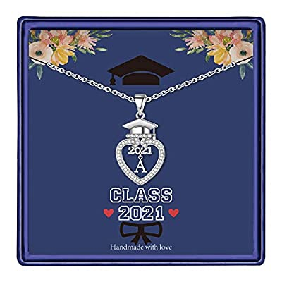 Graduation Gifts Class of 2021 Initial Necklace, 14K White Gold Plated Initial Necklace with CZ Heart Pendant Necklace College Graduation Friendship Gifts for Her Class of 2021 High School Gifts(A)