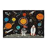 Relaxdays Alfombra Infantil, 150 x 100 cm, Pelo Corto, Revestimiento Antideslizante, Sol y Planetas, Multicolor, 1 Unidad