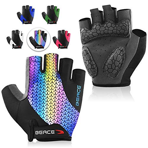BEACE Cycling Gloves Bike Gloves Biking Gloves Half Finger MTB Road Bicycle Gloves for Women(Colorful Night Glow)-Breathable Anti-Slip Shock-Absorbing Pad Motorcycle Mountain Bike Gloves