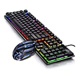 LPZW Retroiluminado por Cable Profesional USB RGB Accesorios DE COMPUTADORA Teclado Juego Mecánico Teclado y Mouse Combo (Color : Black Keyboard Mouse)