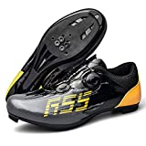 Uhclrr Zapatos de ciclismo Spd Hombres Mujeres Ultralight Triatlón Road (42, Negro)