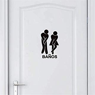 Guduis Wall Sticker Family DIY Decor Art Stickers Home Decor Wall Art Spanish Version Funny Bathroom Toilet Stickers, Banos Sign Decal Sticker for Spanish Toilet Door Decor