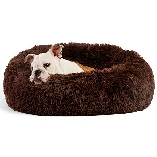 "Best Friends by Sheri The Original Calming Donut Cat and Dog Bed in Shag Fur, Machine Washable, for Pets up to 25 lbs. - Small 23""x23"" in Dark Chocolate"