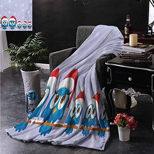 Franela Fleece Throw Blanket Familia De Pájaros con Sombreros De Santa En...