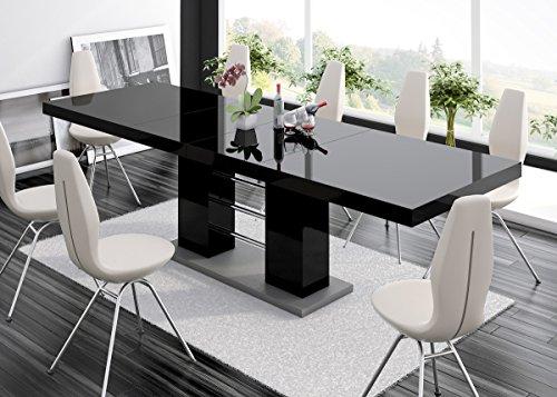 Furniture24 Esstisch LINOSA-2 Tisch Ausziehbar in Super Hochglanz Acryl (Grau Hochglanz/Schwarz Hochglanz)