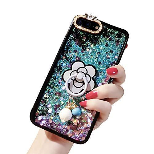 Samsung Galaxy Note 9 Glitter Crystal Liquide Paillette Protection Clair 3D Silicone Gel TPU Bumper Housse, YiCTe ÉtincelleSouple Brillante Étui,avec Béquille fleur Supporter,Violet Sarcelle