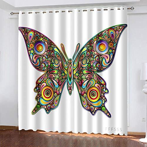 DRFQSK Cortinas Habitacion Opacas 2 Piezas con Ojales 3D Mariposa Creativa Artística Cortinas Termicas Aislantes Frio Y Calor para Salón Dormitorio Decoración De La Ventana 117 X 230 Cm(An X Al)