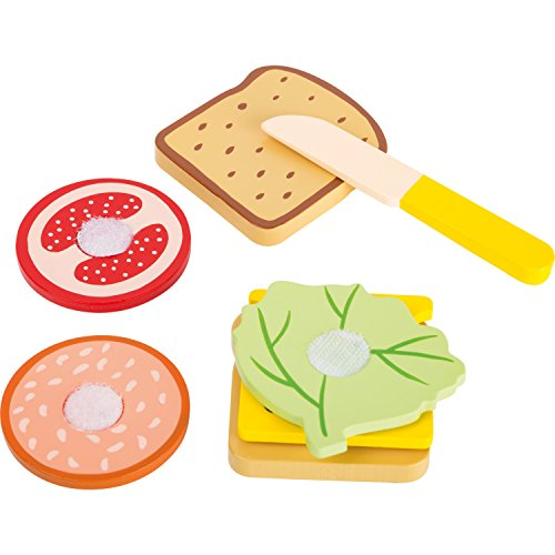 Small Foot 10889 Brotzeit-Set aus Holz, Kinderküche und Kaufmannsladen-Zubehör Spielzeug