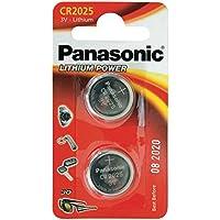 Panasonic CR2025 Pila botón de litio no-recargable, 3V, 165 mAh, Paquete de 2 unidades