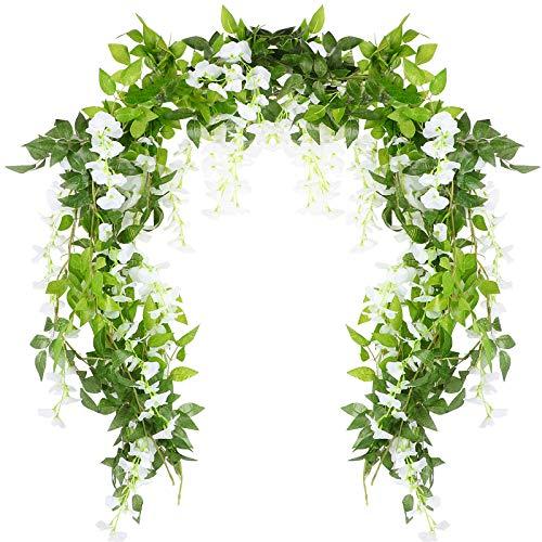 VINFUTUR 2m×5pcs Guirnalda de Flores Artificiales Wisteria, Plantas de Flores Falsas Guirnalda Colgante Vid de Glicina Artificial con Hiedra para Decoración Jardín Boda Balcón Exterior Interior