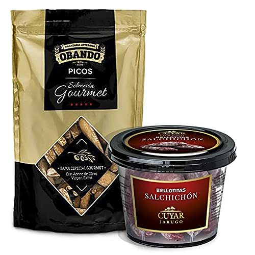 GOURMET BOX - Productos Ibéricos Delicatessen - Salchichon Iberico (Bellotitas) y Picos Artesanos Gourmet - Regalos Gourmet - Especial Picoteo