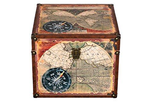 Truhe Kiste JS 14325 Holztruhe mit hochwertigem Kunstleder bezogen. innen mit Stoff ausgeschlagen Vintage Look Schatzkiste Piratenkiste Metallbeschläge Kolonialtruhe Holzbox mit Ornamenten (Größe XL 33x33x26cm)