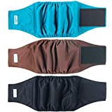 Leekalos MaleDogDiapers (3 Pack), High Absorbing DogBellyBandsforMaleDogs, Washable Reusable DogMaleWraps(Black, Blue, Coffee, Small)