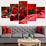 MCZQT Pintura Art Print Live Wall 5 Piezas/Set Red Rose Photo Canvas Tableau Frame HD Decoración Imagen Modular Poster Enmarcado