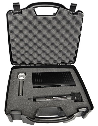 CASEMATIX Wireless Microphone Case - Hard Shell Mic Case with Customizable Foam Compatible with Sennheiser, Shure, Audio Technica, Nady, VocoPro, AKG Systems with Receivers, Transmitters and Mics