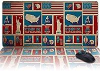 """レトロな愛国心のストライプの星は、ノートパソコン用の拡張ゲーミングマウスパッドソフト、大規模なオフィスデスクの書き込み/キーボードマット滑り止めゴムベース、米国のフラグ独立記念日-IndependenceDayohy4270-35""""x15"""""""