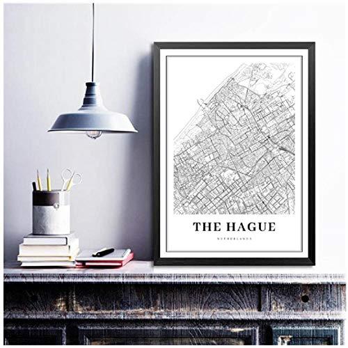 De HAAG kaart afdrukken Nederland kaart muurkunst poster stad straat straat kaart kunst canvas schilderij afbeelding woonkamer decor -50x70cm (geen lijst)