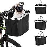 Barrageon Canasta de Bicicleta Canasto Plegable Extraíble para Porta Mascotas Manillar Multiusos Marco Aleación Aluminio Bolsa Compras Viaje Camping al Aire Libre Grande Capacidad - Negro