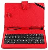 DURAGADGET Etui 7 Pouces Rouge + Clavier intégré AZERTY pour Tablette CDiscount CDisplay écran 7 Pouces par Haier, Android 4.4 KitKat + Stylet Tactile Bonus