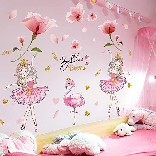 SPFOZ Haus Dekoration [SHIJUEHEZI] Rosa Blumen Pflanze Aufkleber DIY der Wand Mädchen Flamingo Tierwandaufkleber for Kinder Schlafzimmer Baby-Raum-Ausgangsdekoration (Color : Flower and Girl)