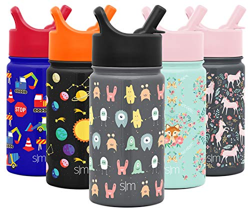 Simple Modern 14oz Summit Kids Water Bottle Thermos with Straw Lid - Dishwasher Safe Vacuum Insulated Double Wall Tumbler Travel Cup 18/8 Stainless Steel Little Monsters