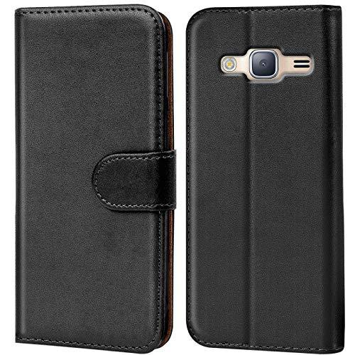 Conie Handyhülle für Samsung Galaxy J3 (2016) Duos Hülle, Premium PU Leder Flip Case Booklet Cover Weiches Innenfutter für Galaxy J3 (2016) Duos Tasche, Schwarz