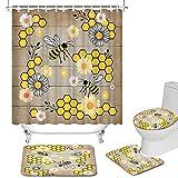 Duschvorhang-Set, Biene, Wabendekor, rutschfest, WC-Deckelbezug & U-förmige Konturmatte, wasserdicht, langlebig, weißer Gänseblümchen-Duschvorhang