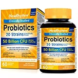 NewRhythm Probiotics 50 Billion CFU 20 Strains, 60 Veggie Capsules, Targeted Release Technology, Stomach Acid Resistant,...