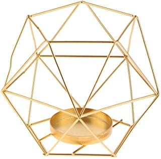 Super SW 3D Industrial Iron Geometric Candle Holder fit for Candlestick Decoration Home Ornament Props (Gold)