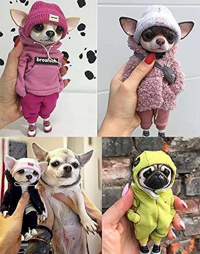 4PCS Standing Puppy Doll Garden Statue Decoration,Cute and Interesting French Bulldog Chihuahua Ornaments Emulation Sculpture,Animal Figurine for Patio Lawn Courtyard Home,Gifts for Dog Lovers