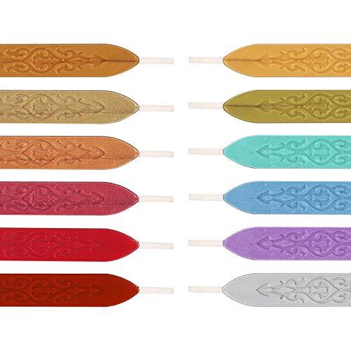 Vegena 12 Stück Siegelwachs mit Docht, Wachssiegel Siegellack Sticks Antik Wachs Wax Seal für Retro Wachs Siegel Stempel Brief Briefsiegel, Karten Umschläge, Hochzeit Einladungen, Geschenk Verpackung