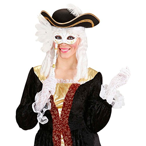 NET TOYS Weiße Stabmaske Barock Maske weiß-Gold Lorgnette Venizianische Maske Augenmaske Rokoko Ballmaske Venedigmaske