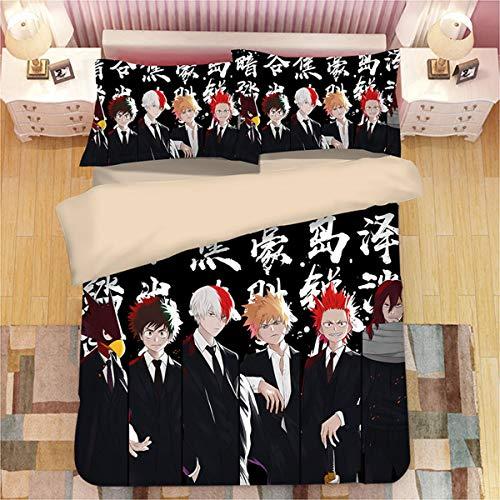 DHSPKN My Hero Academia 3PCS Bedding Sheet Set Anime Quilt Cover + Pillowcase Izuku Deku Duvet Cover Bed Set