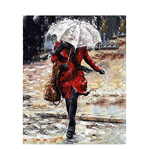 YANGSHUANG DIY Ölgemälde Frau mit Regenschirm Malen nach Zahlen Kit Kreative Malerei auf Leinwand, geeignet für Erwachsene, Kinder und Anfänger - 40 x 50 cm (Ohne Rahmen )