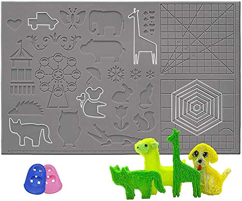 Silikon-Design-Pad für 3D-Druckstifte, gemustertes 3D-Stift-Pad, 3D-Stift-Zeichenwerkzeug für faltbares Design, großes, mehrformiges Silikon-Basisschablonendruckfeld (grau)