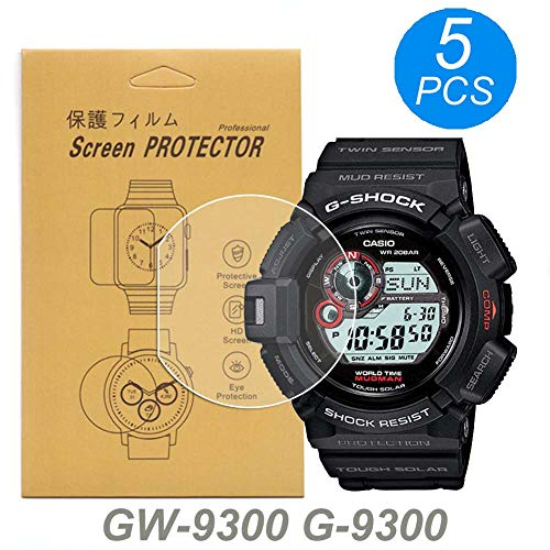 [5-Pcs] for Casio GW-9300/G-9300/G9300GB-1 Watch Screen Protector, Full Coverage Screen Protector for Casio GW-9300/G-9300 Watch HD Clear Anti-Bubble and Anti-Scratch