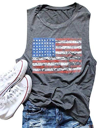 FAYALEQ American Flag Print Tank Tops Women USA Stars Stripes Patriotic T Shirt Summer Loose Vest Tees Size M (Gray)
