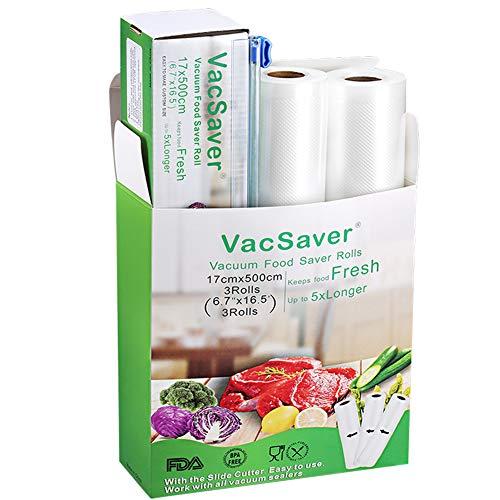 Vacsaver 3 Rollen Vakuumrollen mit Cutter-Box, 17cmx5m für Vakuumierer & Lebensmittel, 8×Länger Frischer Vakuumbeutel, BPA-Frei, stark und wiederverwendbar für Sous Vide
