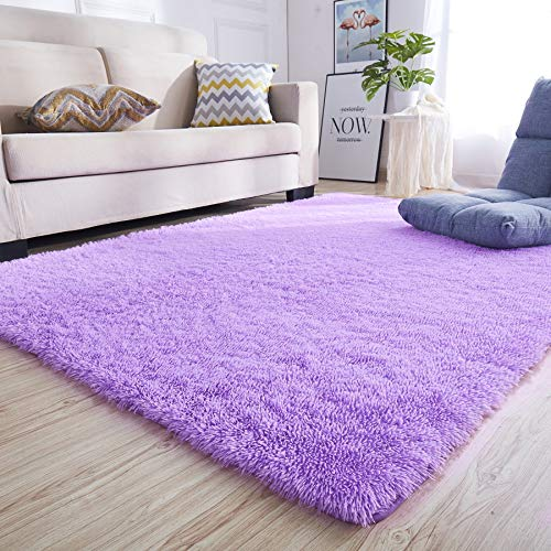 junovo Rectangle Ultra Soft Area Rugs Fluffy Carpets for Bedroom Living Room Shaggy Floor Rug Home Decor Mats, 5.3 x 7.5ft, Purple