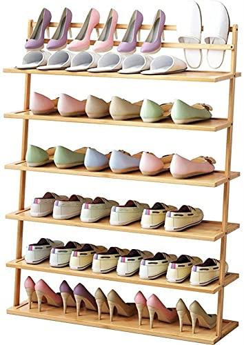 Modern Style Shape Hack, perchero de zapatos de múltiples capas inclinable, montaje a prueba de polvo de gabinete de zapatos pequeño, bambú simple y estante de flores de madera, multifuncional, fácil