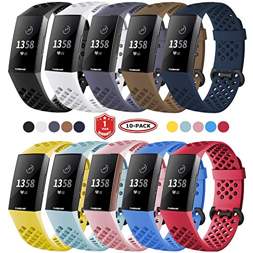 FunBand Fitbit Charge 3/Charge 4 Correa, Edición Especial Soft Silicona Deportes Recambio de Pulseras Ajustable Reemplazo Accesorios para Reloj Fitbit Charge 3/Charge 4