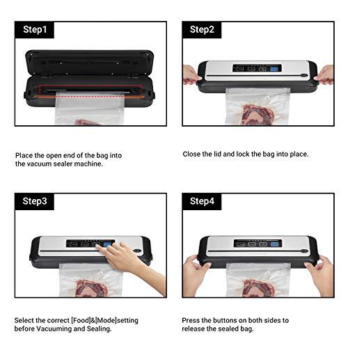 Inkbird INK-VS01 Macchina Sottovuoto per Alimenti, Sigillatrice Sottovuoto Automatico per Alimenti Secci e Umidi con Taglierina Incorporata, Coperchio in Acciaio Inossidabile, Sacchitti e Tubo