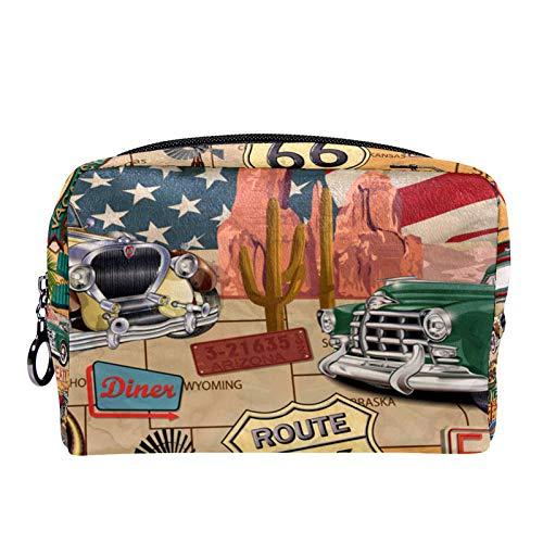 Bolsa de cosméticos para Mujeres U.S. Route 66 Bolsas de Maquillaje espaciosas Neceser de Viaje Organizador de Accesorios